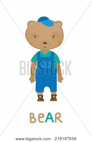 Little bear in overalls, art illustration. Card with fashion animals. Cartoon style