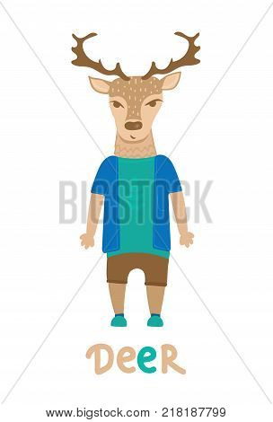 Deer hipster with dressed up in blue t-shirt, art illustration. Card with fashion animals. Cartoon style