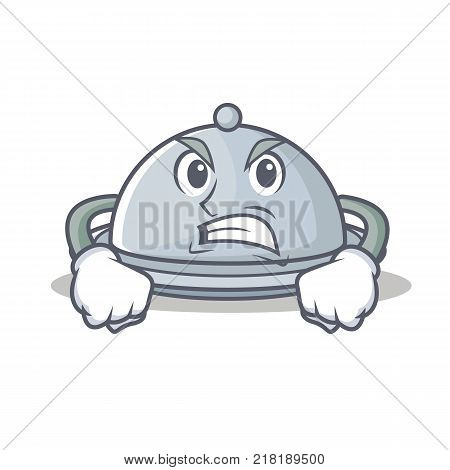 Angry tray character cartoon style vector illustration