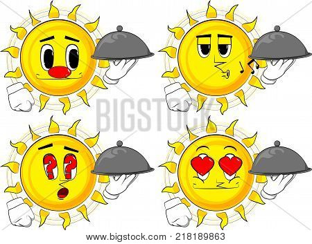Cartoon sun holding silver cloche in hand. Collection with various facial expressions. Vector set.