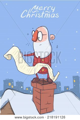 Christmas card of funny hatless Santa Claus in glasses standing on the chimney and reading a long scroll. City landscape on the background. Vector character illustration.