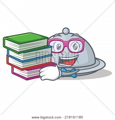 Student with book tray character cartoon style vector illustration