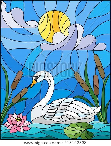 Illustration in stained glass style with Swan Lotus flowers and reeds on a pond in the sun sky and clouds