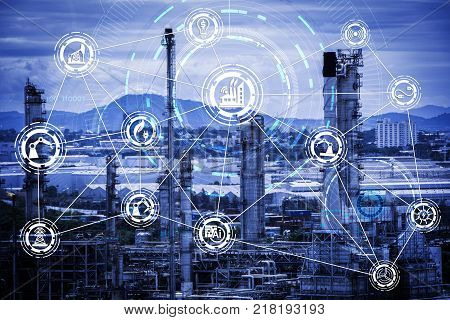 Industry 4.0 concept image. industrial instruments in the factory with cyber and physical system icons Internet of things network smart factory solution