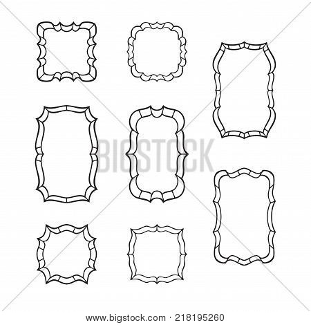 Black classic frames isolated on white background. Vector set of hand drawn outline borders.
