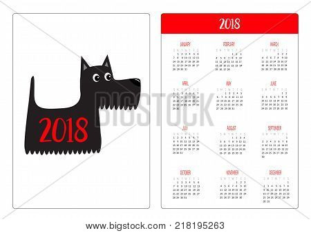Pocket calendar 2018 year. Week starts Sunday. Scottish terrier black dog. Scottie puppy. Cute cartoon character. Pet animal collection. Adopt concept. Flat design White background Vector illustration