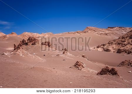 Barren landscape of the famous Valle the la Luna near San Pedro de Atacama in Chile, South America