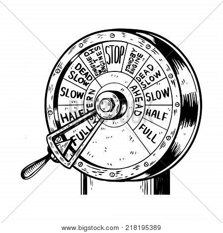 Engine order telegraph engraving vector illustration. Scratch board style imitation. Hand drawn image.