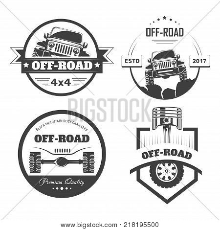 Off-road 4x4 extreme car club logo templates. Vector symbols and icons of off road car or truck with wheel tires and motor engine piston for mountain or rock crawlers club