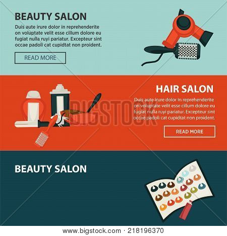 Hairdresser beauty salon web banners flat design template for hair coloring and perm styling. Vector professional coiffeur hair dye, scissors or hairbrush comb and dryer or sprayer in hairdressing salon