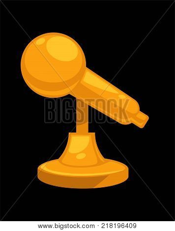 Gold shiny microphone on steady stand isolated cartoon flat vector illustration on white background. Noble polished reward for great achievements in music industry in from of compact statue.