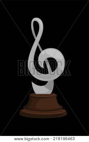 Silver music award in shape of treble clef on dark wooden stand isolated cartoon flat vector illustration on white background. Shiny trophy for second place in contest of professional musicians.