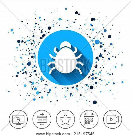 Button on circles background. Bug sign icon. Virus symbol. Software bug error. Disinfection. Calendar line icon. And more line signs. Random circles. Editable stroke. Vector