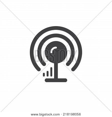wireless signal antenna simple icon, filled flat sign, solid glyph pictogram. Communication tower symbol, vector illustration