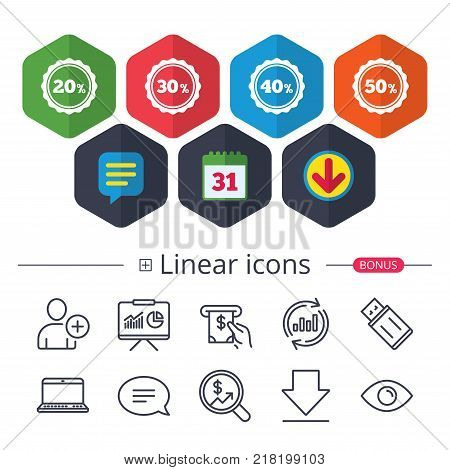 Calendar, Speech bubble and Download signs. Sale discount icons. Special offer stamp price signs. 20, 30, 40 and 50 percent off reduction symbols. Chat, Report graph line icons. More linear signs