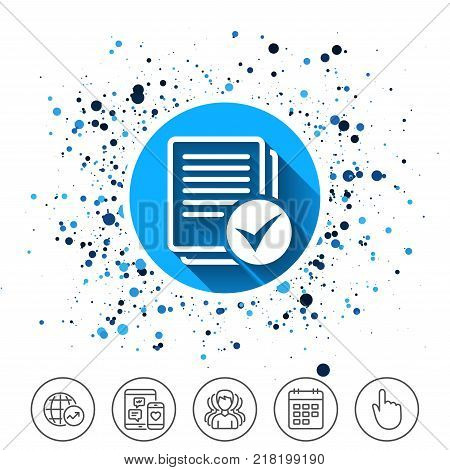 Button on circles background. Text file sign icon. Check File document symbol. Calendar line icon. And more line signs. Random circles. Editable stroke. Vector