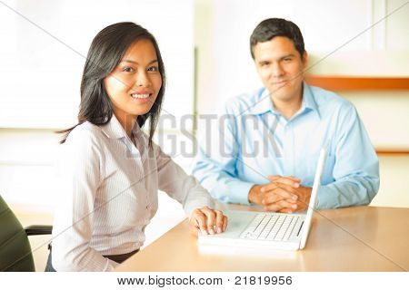 Asian Leader Business Meeting Hispanic Male