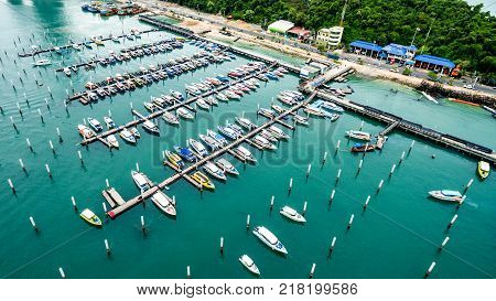 Topview Marine station Luxury yachts and private boats seaport in Marine station complex Pattaya City Chonburi province landscape Thailand