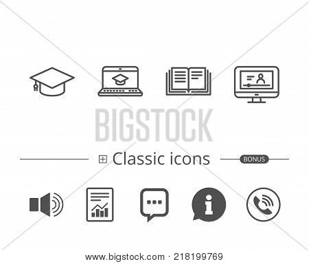 Book, Graduation cap and Video tutorial line icons. Laptop, Student and Internet Lectures signs. Notebook and Webinar symbols. Information speech bubble sign. And more signs. Editable stroke. Vector