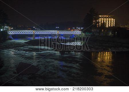 Night view Bridge. Kutaisi by night beautiful illumination bridge on Rioni river