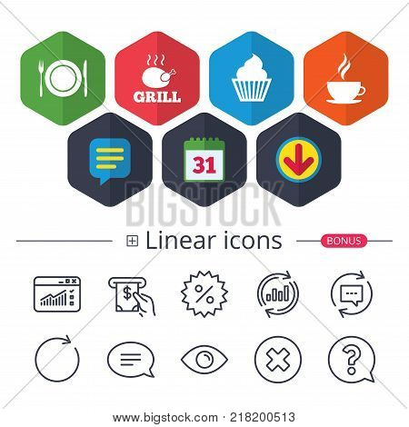Calendar, Speech bubble and Download signs. Food and drink icons. Muffin cupcake symbol. Plate dish with fork and knife sign. Hot coffee cup. Chat, Report graph line icons. More linear signs. Vector