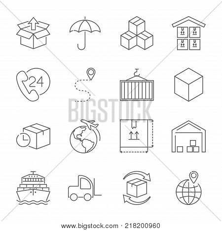 Fast delivery and quality service transportation. Different icons for logistics theme. Vector icons for logistic company. Editable Stroke. EPS 10