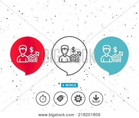 Speech bubbles with symbol. Business results line icon. Dollar with Growth chart sign. Bonus with different classic signs. Random circles background. Vector