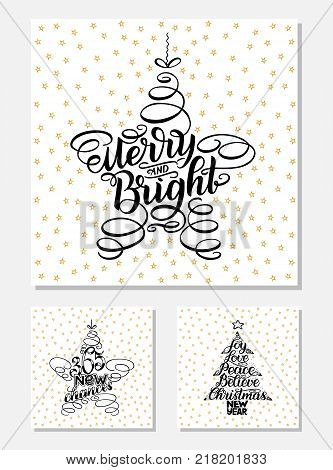 Set New Year Greeting Cards, lettering design. Vector illustration, black letters isolated on white background with golden stars. 365 new chances, merry and bright, New Year and Christmas Wish tree.