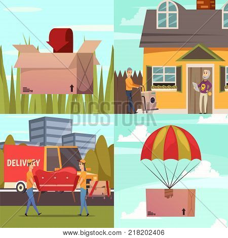 Courier delivery service concept 4 orthogonal icons square with delivery and parcel handling options isolated vector illustration