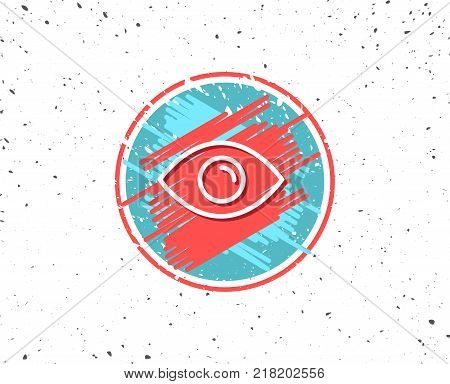 Grunge button with symbol. Eye line icon. Look or Optical Vision sign. View or Watch symbol. Random background. Vector