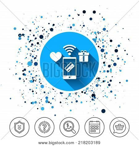 Button on circles background. Wireless mobile payments icon. Smartphone, credit card and gift symbol. Calendar line icon. And more line signs. Random circles. Editable stroke. Vector