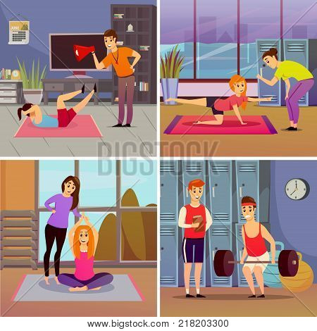 Personal sport trainer orthogonal concept with weightlifting, yoga, physical exercises in gym isolated vector illustration