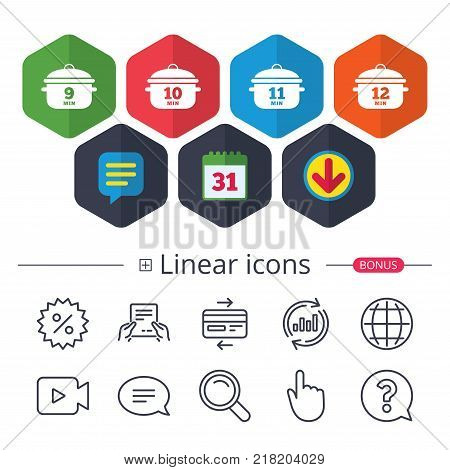 Calendar, Speech bubble and Download signs. Cooking pan icons. Boil 9, 10, 11 and 12 minutes signs. Stew food symbol. Chat, Report graph line icons. More linear signs. Editable stroke. Vector
