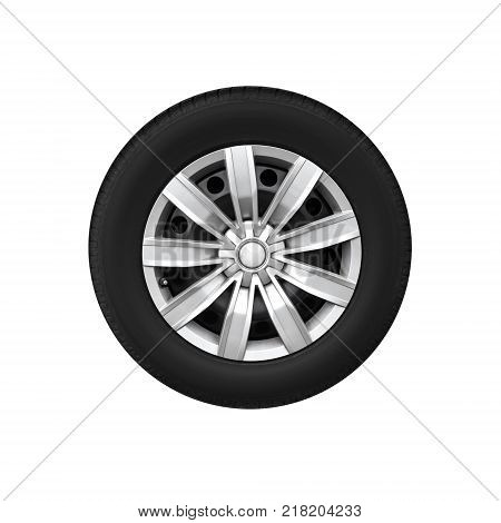 New automotive wheel on light alloy disc isolated on white background