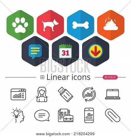 Calendar, Speech bubble and Download signs. Pets icons. Dog paw and feces signs. Clean up after pets. Pets food. Chat, Report graph line icons. More linear signs. Editable stroke. Vector