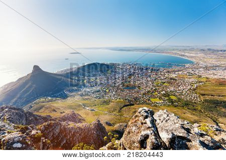 Breathtaking views of Cape Town from top of Table mountain