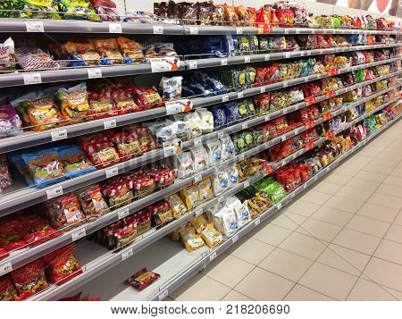 A rack of candy in the store. Shelves with pastries. November 10 2017 Russia city of Rybinsk.