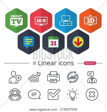 Calendar, Speech bubble and Download signs. Smart TV mode icon. Aspect ratio 16:9 widescreen symbol. 3D Television and TV table signs. Chat, Report graph line icons. More linear signs. Editable stroke