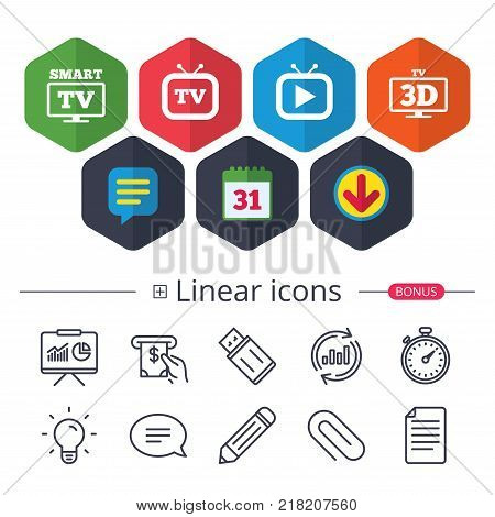 Calendar, Speech bubble and Download signs. Smart 3D TV mode icon. Widescreen symbol. Retro television and TV table signs. Chat, Report graph line icons. More linear signs. Editable stroke. Vector