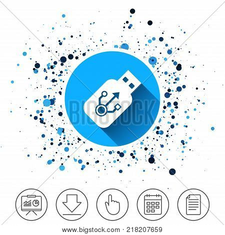 Button on circles background. Usb sign icon. Usb flash drive stick symbol. Calendar line icon. And more line signs. Random circles. Editable stroke. Vector