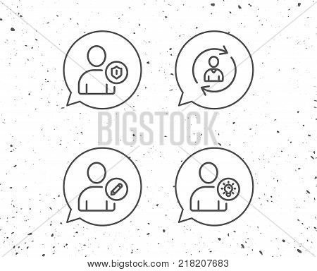 Speech bubbles with signs. User, Edit profile and Security line icons. Businessman with idea symbols. Grunge background. Editable stroke. Vector