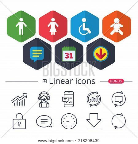 Calendar, Speech bubble and Download signs. WC toilet icons. Human male or female signs. Baby infant or toddler. Disabled handicapped invalid symbol. Chat, Report graph line icons. More linear signs
