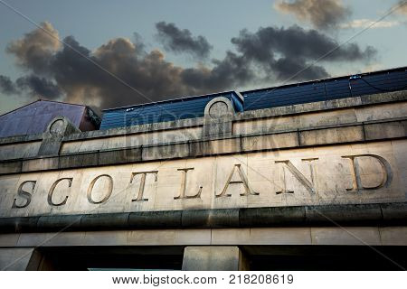 Scotland sign carved into stone in the capital Edinburgh