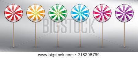 Set of 6 colorful lollipops. Round candy on stick with swirl design. Lollipop icon set. Design elements for holiday cards. Realistic and isolated on the white panel. Vector illustration. Eps10.