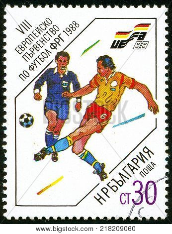 UKRAINE - circa 2017: A postage stamp printed in Bulgaria shows Referee and player Series European Football Championship circa 1988