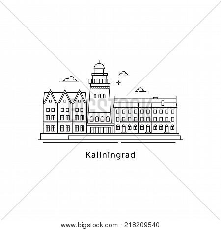 Kaliningrad logo isolated on white background. Kaliningrad s landmarks line vector illustration. Traveling to Russia cities concept