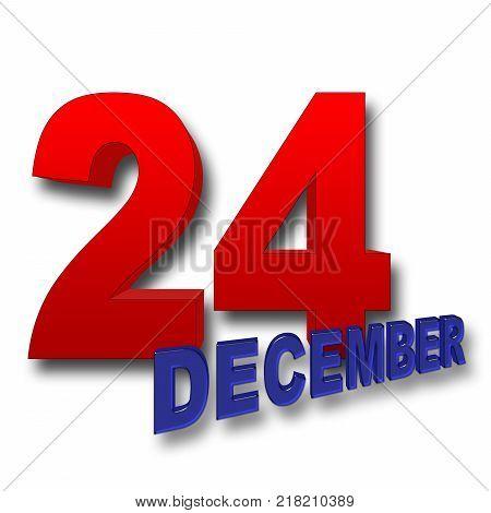 Stock Illustration - Red Bold 24, Blue Bold December, 3D Illustration, White Background.