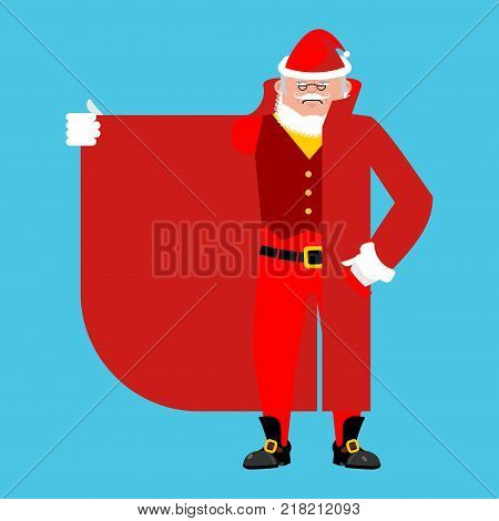 Santa Claus Smuggler selling something template. Cloak-seller isolated. Dealer in hat and coat . Bootlegger. Seller prohibited goods of black marke. Legitimate trade. Vector illustration poster