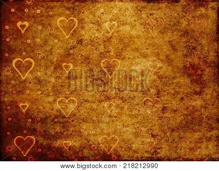 Old paper in grunge style with abstract background with hearts.