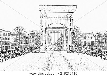 Pencil drawing from snowy thiny bridge in Amsterdam the Netherlands in winter